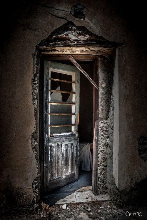 Backdoor entrance to a house, abandoned during the war of 1974 in North Cyprus.